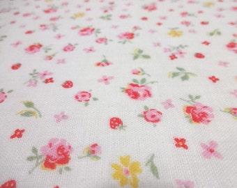 SALE Japanese Double Gauze Flower Rose and Strawberry White 1/2 yard