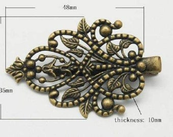 Alligator Clips Wholesale Hair Accessory Supplies Antiqued Bronze Ornate Design Teardrop 10 pieces