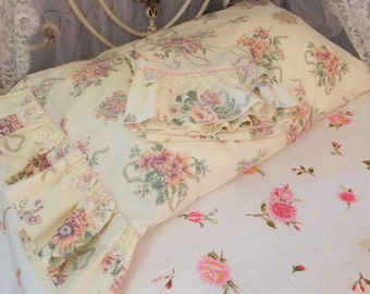 Floral Flat Sheet, Matching Pair of Pillowcases, Lace Sheets, Vintage Sheet Set, Vintage Bedding, Full Size Sheet