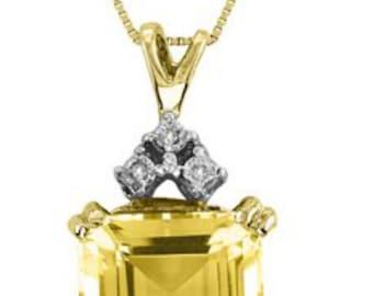 12 Carat Citrine & Diamond Pendant Necklace With Chain 14K Yellow Gold