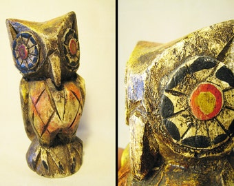 Carved Driftwood Big Eyed Owl - Kitschy Collectible Decor 1960s - 1970s - Brown / Golden Yellow / Orange Red - Hand Carved Soft Wood