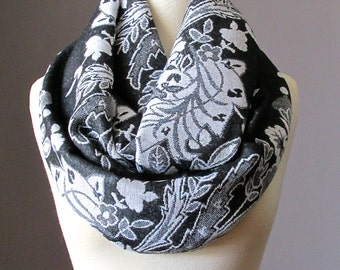Black and White  infinity scarf, Black scarf, pashmina, floral scarf, Metallic scarf