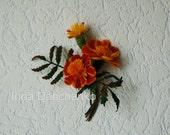 Marigold Orange and Yellow brooch, Marigold  flowers, felted orange brooch