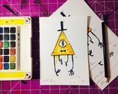 Bill Cipher Limited Edition 5x7 Print on Linen paper. Watercolor painting, fan art Gravity Falls.