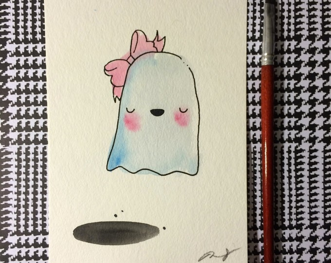"""Halloween Watercolor Painting """"Ghost with Bow"""", 5x7 inches decoration."""