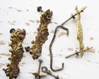 ON SALE Vintage, Pressed, Brass, Tin, Drawer Pull, Parts, Shell & Dot,Design, Antique, Original, Hardware, Handle, Knob