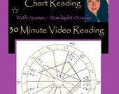 Your Astrological Birth Chart Analysis pre - recorded VIDEO Reading - 30 Minute General Reading PLUS 1 Questions Answered. (Includes Jpeg).