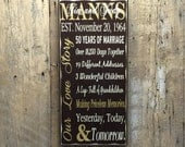 Parents Anniversary Gift - Wood Painted Sign - 50th Anniversary Gift - Custom Personalized Wood Sign