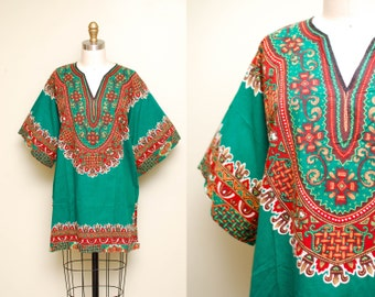 Vintage 70s African Dashiki Tunic Top / Green Tribal Caftan / Boho Ethnic Print Dress / One Size Fits Most