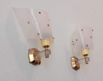 Pair French Vintage Mid Century White and Gold Wall Lights - Sconces - French Elegance for any room