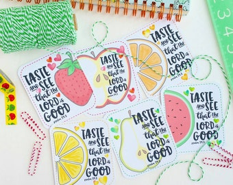 SUMMER FRUIT / taste and see that the Lord is good - psalm 34.8 / set of 6 journaling / bible journaling cards