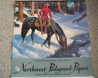 Arnold Friberg calendar, Canadian Mountie Vintage Lithograph, Print, Royal Canadian Mounted Police, Horse, RCMP, 1972 Canada, Winter scene