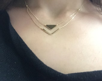 14k yellow gold triangle pendant necklace