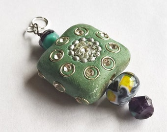 Unique Green Kashmiri Bead Pendant with Lampwork Glass Bead and Czech Glass Beads