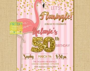 Let's Flamingle Invitation, Flamingo Birthday Invite, Gold pink flamingo invitation, blush gold flamingo party, glitter flamingo invitation