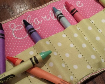 Mini Crayon Holder with Optional Name/Monogram. Pink, green, navy, mint. Travel crayon carrier.