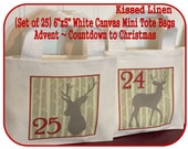 """Advent Calendar Countdown to Christmas Holiday Hanging Bags White Canvas Mini Totes Bags 6""""x5"""" Rustic Woodland Birch Deer Gift Bags Red Grey"""