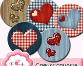 """Digital collage sheets """" country hearth,love"""" 1 inch ,instant download"""