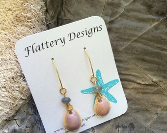 Purple Cowrie Shell and Labradorite Earrings