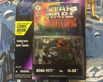 Vintage STAR WARS: Shadows of the Empire • IG-88 vs Boba Fett • Sealed 1996