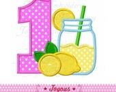 Instant Download Lemonade Jar Number 1 Applique Embroidery Design NO:2118