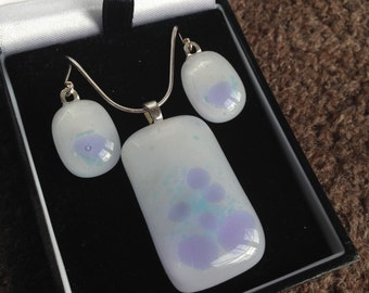 Fused Glass Pendant and earring set