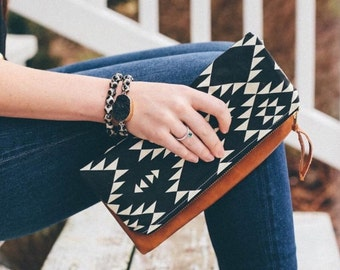 Leather Fold Over Clutch Mini size