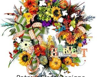 Thanksgiving Fall Wreath, Wreath w Pumpkins, Cotton Boll Wreath, Fall Decoration, Grapevine Wreaths, Fall Wreaths, Autumn Wreath