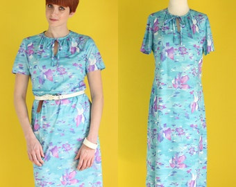 Vintage 70s Floral Dress - Watercolor Print Dress - Short Sleeve Light Blue Dress - Knee Length Spring Dress - Keyhole Dress - Size Medium
