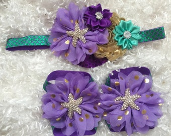 Under the sea/Barefoot Sandals /Little Mermaid/StarFish Hairband/ Baby Headband/First Birthday/ CakeSmash/Aqua Lavender Headband/Baby Sandal