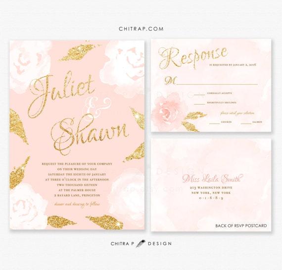 Gold And Blush Wedding Invitations: Blush Gold Wedding Invitations & RSVP Cards Printed Pink