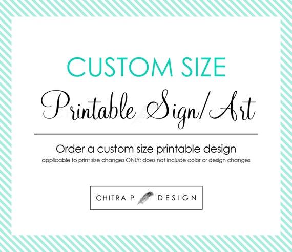 Custom Size Printable Wall Art Or Party Sign Nursery Art Home