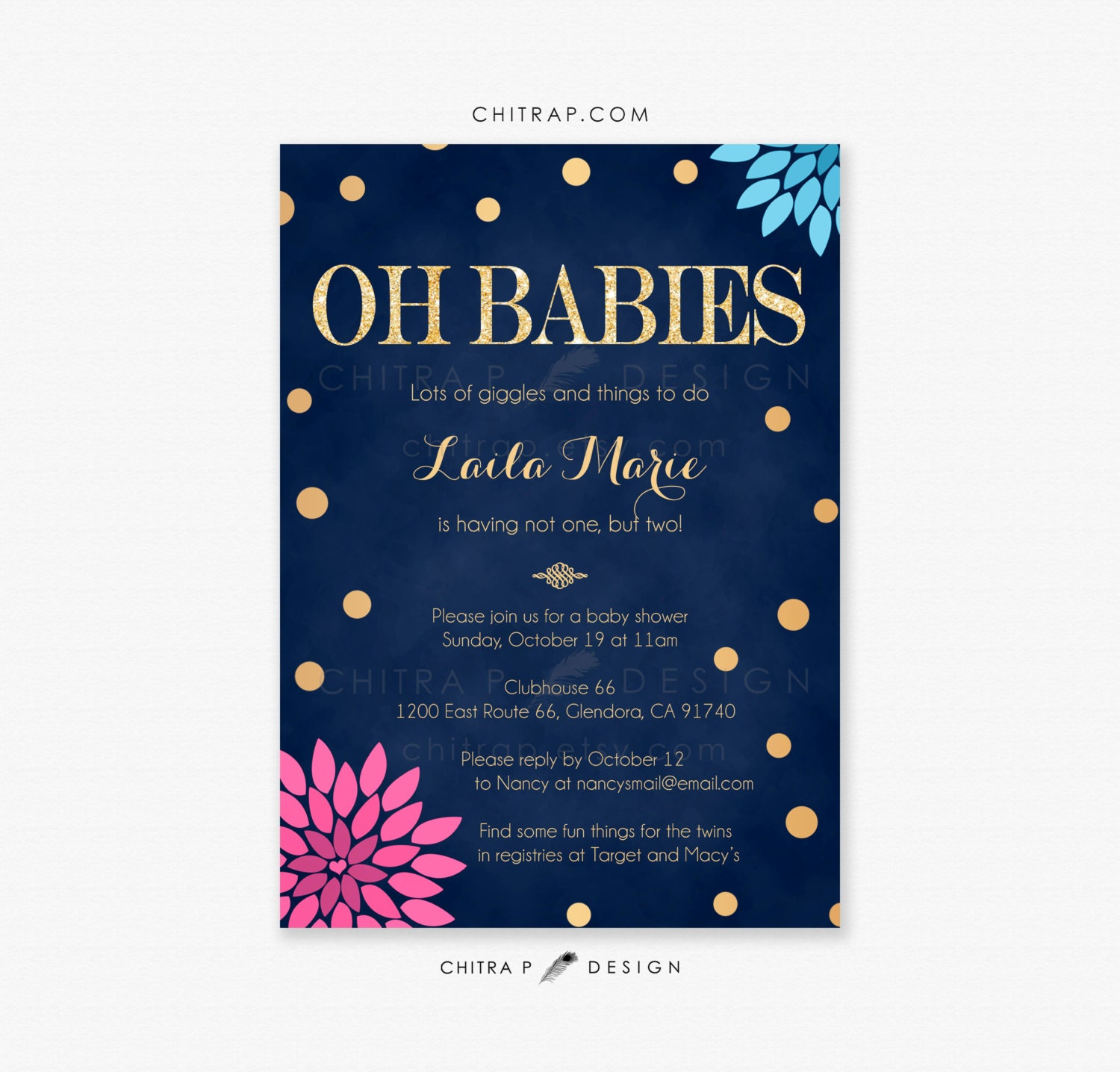 Pink Blue Twin Baby Shower Invitations Printed Navy Boy