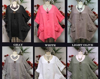 Gotta have Summer New Linen Oversized designer Lagenlook Tunic top with Front Pockets