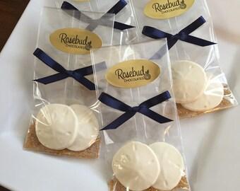 12 Chocolate Sand Dollar Favors Nautical Wedding Bridal Party Sea Beach Candy Dessert