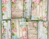 Wood Background - digital collage sheet - set of 8 - Printable Download - Watercolor Flower