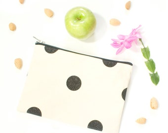 Polka Dot Zipper Pouch Natural Canvas and Black Glitter Dots Handbag