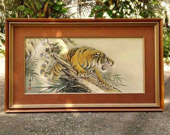 Big Vintage Asian Tiger Painted on Faux Ivory Panel with Mother of Pearl Applique