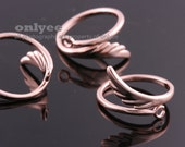 2PCS-12mmBright Rose Gold Plated Brass Adjustable RING Blank Base with Wing For Deco pad Ring (E301R)