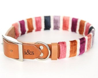Leather Dog Collar with Textile Sleeve // Plum Velvet // Optional ID Tag