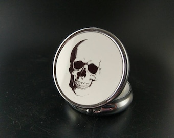 Hand Painted Pillbox - Skull - Anatomical Skull - Occult Accessory