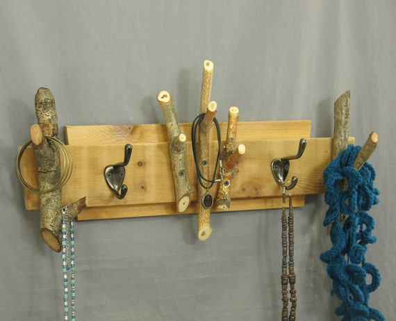 Reclaimed wood coat rack wall mounted jewelry organizer