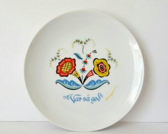 Berggren Floral Rosemaling Plate Swedish Scandinavian