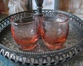 Pair of Antique Vintage Etched Pink Depression Glass Shot Glasses Liquer Glasses Barware Drinkware