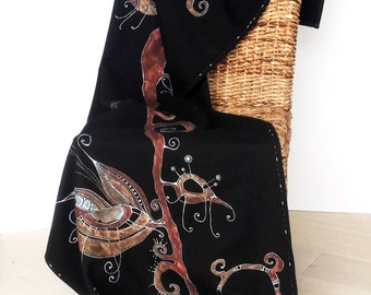 Black wool scarf - Hand painted - amber - ON ORDER ONLY - autumn - winter - copper - handcrafted scarf -soft woolen scarf- vintage scarf
