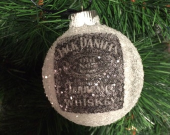 NEW!! Jack Daniels Tennessee Whiskey glass glitter ornament