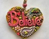 Believe Ornament, Rustic Paisley Believe Ornament, Whimsical Paisley Ornament