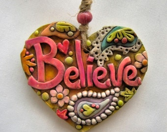 Believe Ornament, Rustic Boho  Believe Ornament, Whimsical Paisley Ornament
