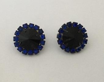 50% SALE Blue Swarovski Earrings..Rivoli Earrings..Rivoli Crystal Earrings..Blue Rivoli Earrings..Midnight Blue..Vintage Rhinestone 80's NOS