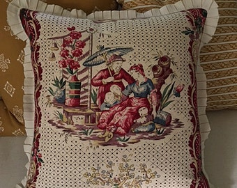 Clarence House Chinoiserie Linen Pillow